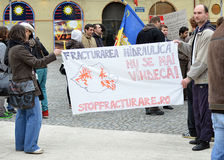 Anti Fracking Demonstration and against Rosia Montana Gold Corporation Stock Images