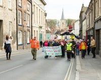 Anti-Fracking Maart - Malton - Ryedale - het Noorden Yortkshire - het UK Royalty-vrije Stock Afbeeldingen