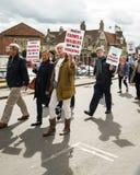 Anti-Fracking Maart - Malton - Ryedale - het Noorden Yortkshire - het UK Stock Foto's