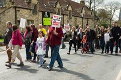 Anti-Fracking Maart - Malton - Ryedale - het Noorden Yortkshire - het UK Stock Foto