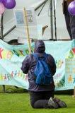 Anti-Fracking Maart - Malton - Ryedale - het Noorden Yortkshire - het UK Stock Fotografie