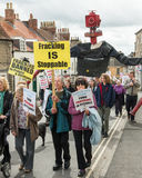 Anti-Fracking March - Fracking - Protest - Barclays Bank. Anti-fracking march in Malton - Saturday 25th April 2015 Stock Photo