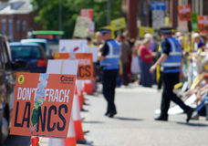 An Anti-Fracking Sign at the Protest in Preston Stock Image