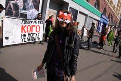 Anti-fur protest. KHARKIV, UKRAINE - OCTOBER 4, 2015: `Animals are not clothes` anti-fur international protest. During World Animal Day vegan activists held Royalty Free Stock Photos