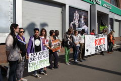 Anti-fur protest. KHARKIV, UKRAINE - OCTOBER 4, 2015: `Animals are not clothes` anti-fur international protest. During World Animal Day vegan activists held Stock Images