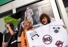 Anti-fur protest. KHARKIV, UKRAINE - OCTOBER 4, 2015: `Animals are not clothes` anti-fur international protest. During World Animal Day vegan activists held Stock Photography