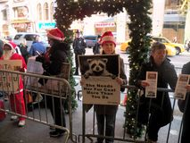Anti fur protest Lord and Taylor New York City. Royalty Free Stock Photos