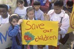Anti-gang community march. Children holding signs at anti-gang community march, East Los Angeles, California Stock Photos