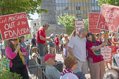Anti GMO and Monsanto Protesters Hold Signs at Rally in Ashevill Stock Image