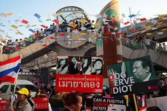 Anti governement plates to expel Yingluck Stock Photography