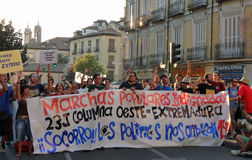 Anti-government demonstration with big banner on streets of Madrid, Spain Royalty Free Stock Photo