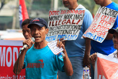 Anti-government protest. Mandaluyong City, Philippines – October 9, 2012: Nationwide transport strike by the militant transport group PISTON (Pagkakaisa stock image