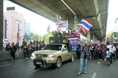 Anti - government protest against Yingluck Shinnawatragovernment. Stock Photo