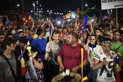 Anti-government protest in Bucharest - 12 August 2018 Royalty Free Stock Photo