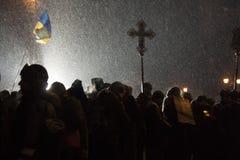 Anti-government protest in Kiev, Grushevsky, Ukraine. People def Stock Photo