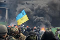 Anti-government protest in Kiev Stock Photography