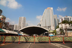 Anti-government protest tent camp at Asoke area Royalty Free Stock Photo