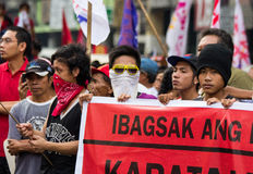 Anti-government protest during the 150th birthdate of Andres Bonifacio Royalty Free Stock Image