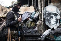 Anti-government protesten in het centrum van Kiev Stock Foto's