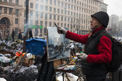 Anti-government protesten in het centrum van Kiev Stock Afbeelding