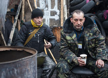 Anti-government protesten in het centrum van Kiev Stock Afbeelding