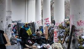 Anti-government protesten in het centrum van Kiev Stock Fotografie