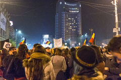Anti government protesters in Bucharest Stock Photography