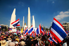 Anti government protesters at Democracy Monument Royalty Free Stock Photo