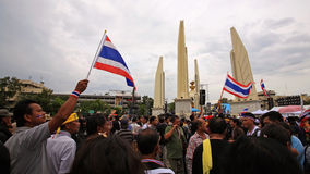 Anti-government protesters gather at democracy monument Royalty Free Stock Photo