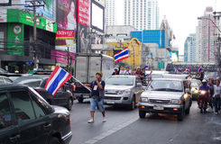 Anti-government protesters to the Democracy Monument. The protest Against The Amnesty bill in Pra Stock Images