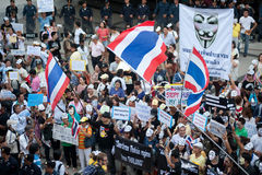 Anti-government protesters wearing Guy Fawkes masks . Stock Images
