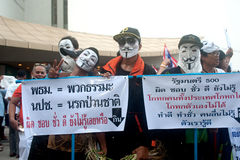 Anti-government protesters wearing Guy Fawkes masks . Royalty Free Stock Images