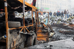 Anti-government protests in the center of Kiev Stock Photo