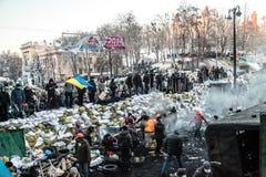 Anti-government protests outbreak Ukraine Stock Photos