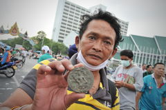 Anti-Government Rally in Bangkok. A nationalist protesters from the Pitak Siam group attends a large anti-government rally on Makhawan Bridge on November 24 Royalty Free Stock Image