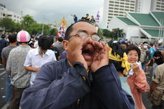 Anti-Government Rally in Bangkok. A nationalist protester from the Pitak Siam group shouts anti-government slogans while attending a large rally on Makhawan Stock Images