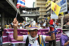 Anti-Government Rally. Protesters stage an anti-government rally in Bangkoks shopping district on August 18, 2013 in Bangkok, Thailand. Several hundred Royalty Free Stock Photography