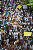 Anti-Government Rally. Protesters stage an anti-government rally in Bangkoks shopping district on August 18, 2013 in Bangkok, Thailand. Several hundred Royalty Free Stock Photos