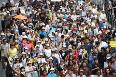 Anti-Government Rally. Protesters stage an anti-government rally in Bangkoks shopping district on August 18, 2013 in Bangkok, Thailand. Several hundred Royalty Free Stock Image
