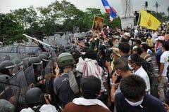 Anti-Government Verzameling in Bangkok Stock Foto