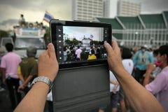 Anti-Government Verzameling in Bangkok stock afbeelding