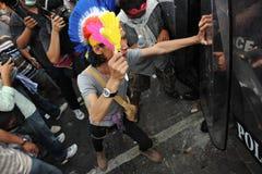 Anti-Government Verzameling in Bangkok Royalty-vrije Stock Foto