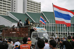Anti-Government Verzameling in Bangkok Royalty-vrije Stock Foto