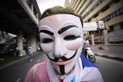 Anti-Government White Mask Protest in Bangkok Royalty Free Stock Images