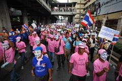 Anti-Government 'White Mask' Protest in Bangkok Stock Photography