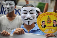 Anti-Government 'White Mask' Protest in Bangkok Royalty Free Stock Photography