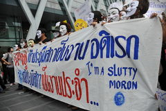 Anti-Government 'White Mask' Protest in Bangkok Royalty Free Stock Images