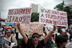 """Anti-Government """"Wit Masker"""" Protest in Bangkok Stock Foto's"""