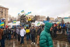 Anti-governmental protests in Kiev, Ukraine. KIEV, UKRAINE - DECEMBER 07: Anti-governmental protests on December 7, 2013 in Kiev, Ukraine. The protests were Royalty Free Stock Images