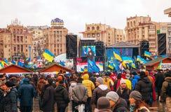 Anti-governmental protests in Kiev, Ukraine. KIEV, UKRAINE - DECEMBER 07: Anti-governmental protests on December 7, 2013 in Kiev, Ukraine. The protests were Royalty Free Stock Image